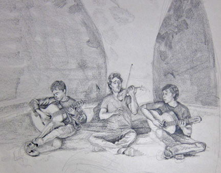 Three Musicians in Park Guell